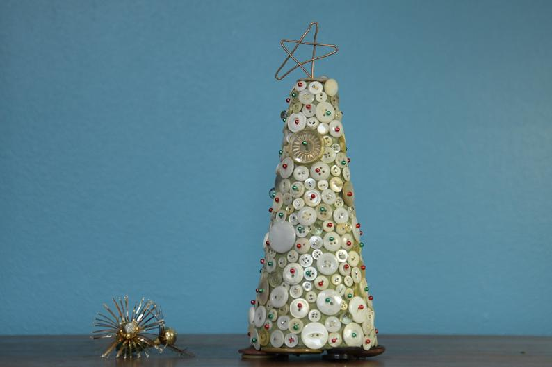 Button and pearl Christmas tree