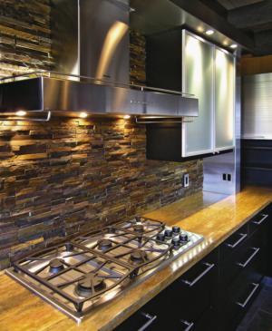 Stone or brick kitchen backsplashes